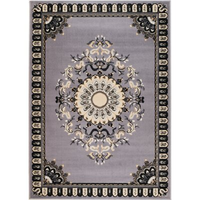 Chateau Machine Woven Gray Area Rug Rug Size: 74 x 106