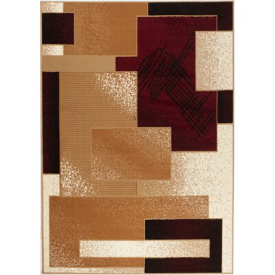 Chateau Beige/Red Area Rug Rug Size: 74 x 106