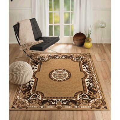 Chateau Beige/Brown Area Rug Rug Size: 110 x 211