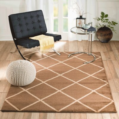 Venice Machine Woven Brown Indoor Area Rug Rug Size: 74 x 106