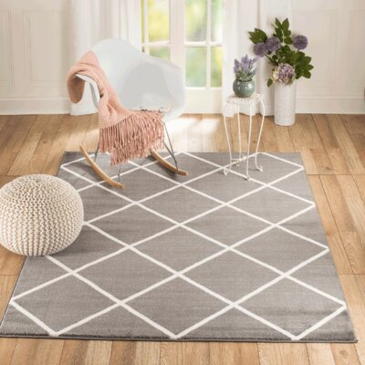 Venice Gray/White Area Rug Rug Size: 5 x 7