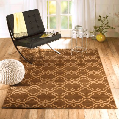 Venice Brown/Cream Area Rug Rug Size: 22 x 35