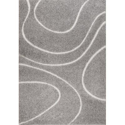 Quaoar Gray Wave Area Rug Rug Size: 4 x 6