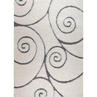 Quaoar White Swirl Area Rug Rug Size: 2' x 3'