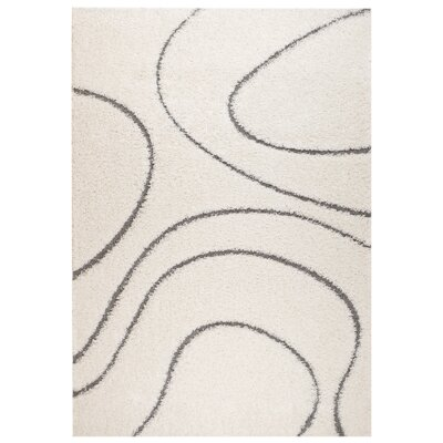 Quaoar White Wave Area Rug Rug Size: 5' x 7'