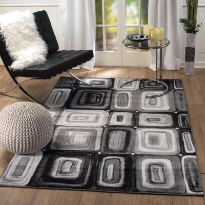 Summit Elite Black/Gray Area Rug Rug Size: 74 x 106