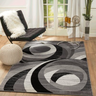 Summit Elite Gray/Black Area Rug Rug Size: 74 x 106