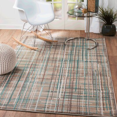 Summit Elite Beige/Blue Area Rug Rug Size: 74 x 106