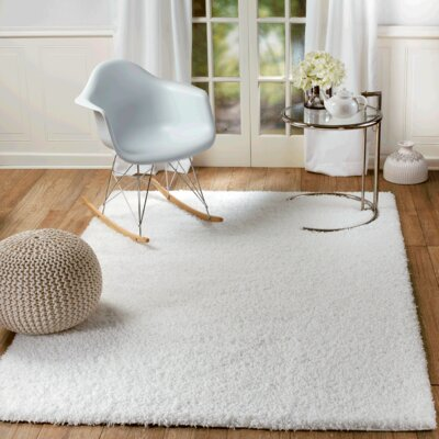 Supreme White Area Rug Rug Size: Rectangle 39 x 59