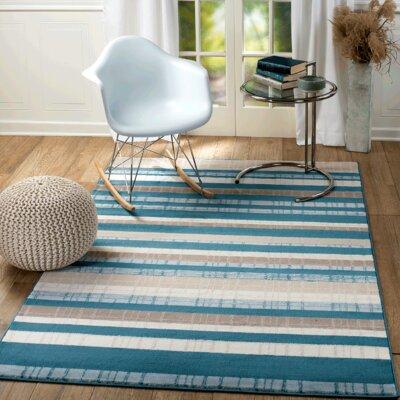 Summit Elite Navy Blue/Beige Area Rug Rug Size: 38 x 5