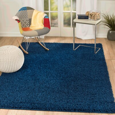 Supreme Navy Blue Area Rug Rug Size: Rectangle 5 x 7