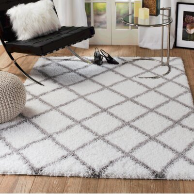 Supreme Shag Diamond White/Gray Area Rug Rug Size: 5 x 7