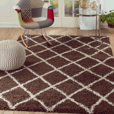 Supreme Shag Diamond Brown/White Area Rug Rug Size: 5 x 7