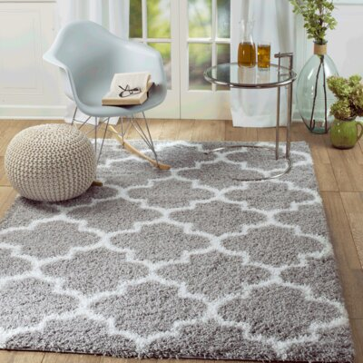 Supreme Shag Royal Trellis Gray/White Area Rug Rug Size: 2 x 3