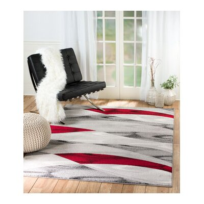 Grimes Gray/Red Area Rug Rug Size: 74 x 106