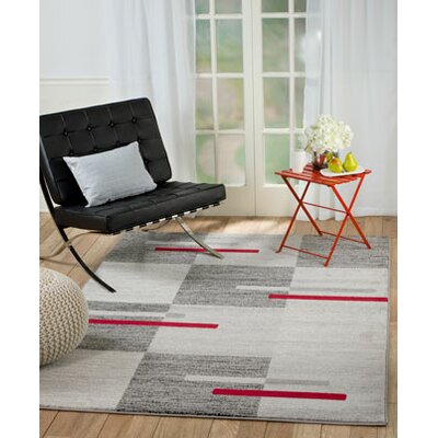 Grimes Gray/Red Wool Area Rug Rug Size: 74 x 106