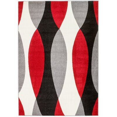 Grimes Gray/Black/Red Area Rug Rug Size: 74 x 106
