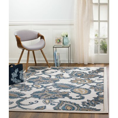 Anita Floral Linen Area Rug Rug Size: 74 x 106