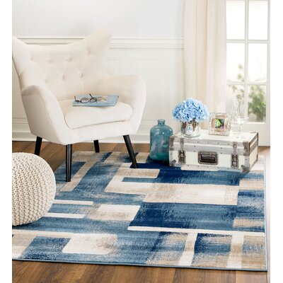 Sawyer Geometric Light Blue Area Rug Rug Size: 36 x 5