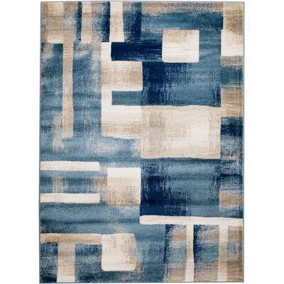 Sawyer Geometric Light Blue Area Rug Rug Size: 74 x 106