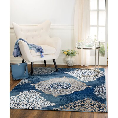 Anita Medallion Navy Blue Area Rug Rug Size: 36 x 5