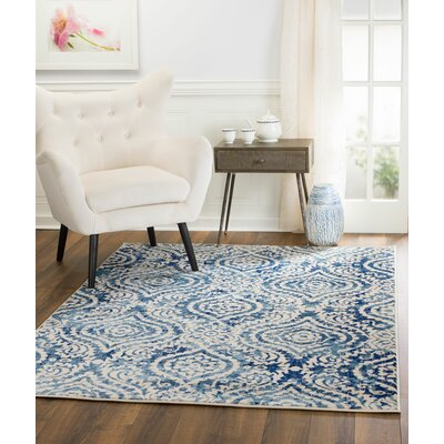 Amy Royal Trellis Cream/Blue Area Rug Rug Size: 2 x 3
