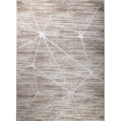 Clarette Glamour Web Taupe/Silver Area Rug Rug Size: 37 x 411