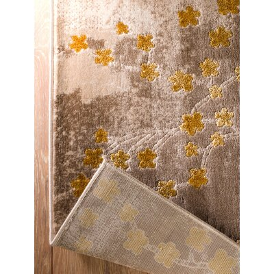 Anne Glamour Garden Taupe/Gold Area Rug Rug Size: 2 x 3