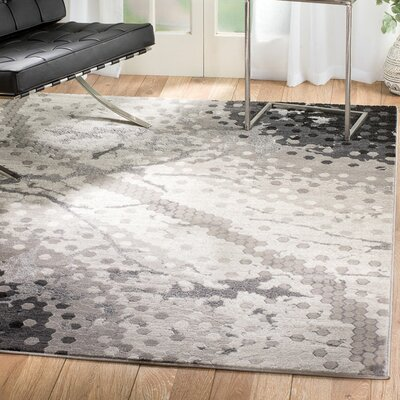 Ross Glamour Mosaic Gray Area Rug Rug Size: 8 x 106