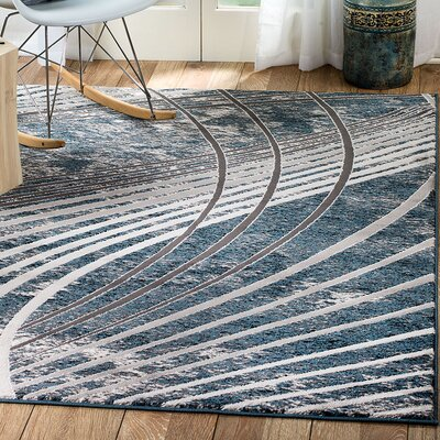 Ross Glamour Wave Blue /Gray Area Rug Rug Size: Runner 2 x 7