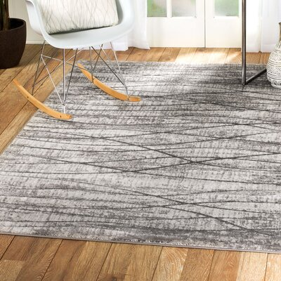 Scott Glamour Waves Gray Area Rug Rug Size: 37 x 411