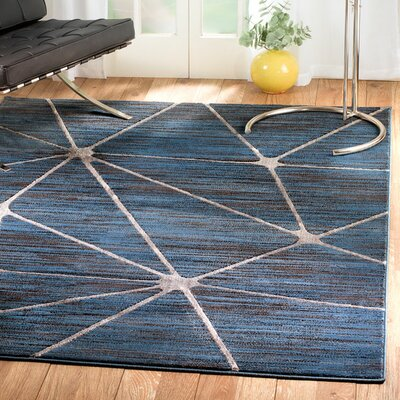 Clarette Glamour Web Blue/Silver Area Rug Rug Size: 2 x 3