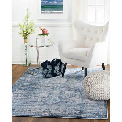 Andrews Distressed Blue Area Rug Rug Size: 38 x 57