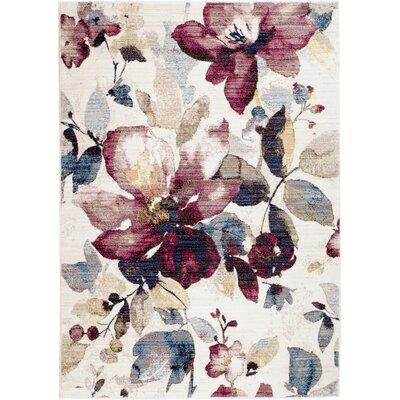 Bertram Ivory/Rose Area Rug Rug Size: 711 x 102