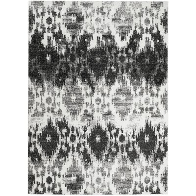Bobington White/Gray Area Rug Rug Size: 5 x 7