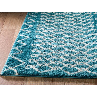 Bolt Geometric Teal/Turquoise Area Rug Rug Size: 39 x 59