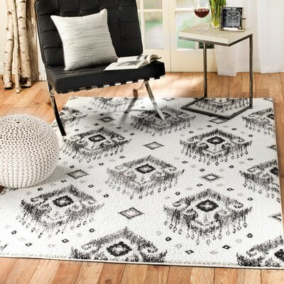 Bocarty Ikat White/Gray Area Rug Rug Size: 5 x 7
