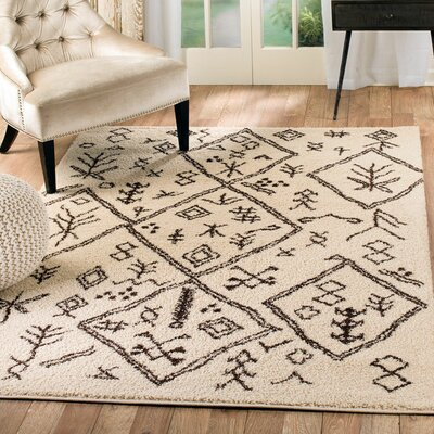 Shelba Ikat Cream/Brown Area Rug Rug Size: 5 x 7