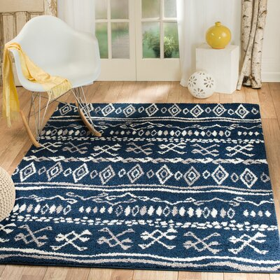 Botolph Tribal Blue/White Area Rug Rug Size: 2 x 3