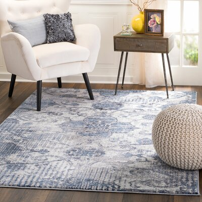 Andrews Distressed Tibetan Blue Area Rug Rug Size: 38 x 57