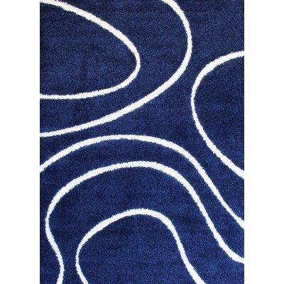 Quaoar Shaggy Curves Navy Blue Area Rug Rug Size: 4 x 6