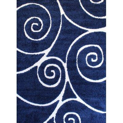 Quaoar Shaggy Swirls Navy Blue Area Rug Rug Size: 2 x 3