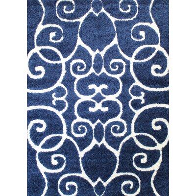 Quaoar Shaggy Saruk Navy Blue Area Rug Rug Size: 2' x 3'