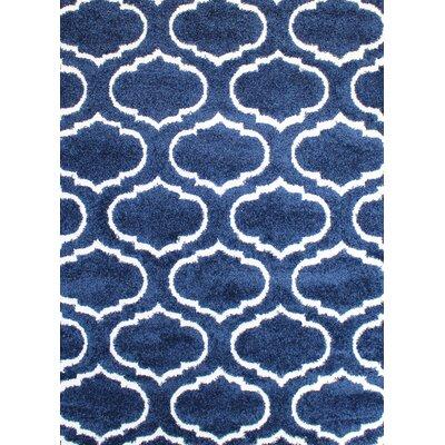 Quaoar Shaggy Trellis Navy Blue Area Rug Rug Size: 5 x 7
