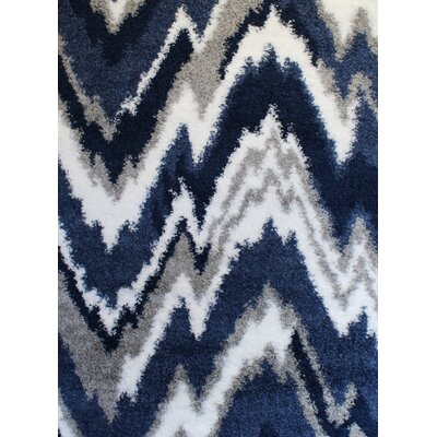 Quarterman Shaggy Zig-Zag Gray/Navy Blue Area Rug Rug Size: 4 x 6