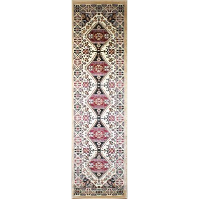 Anora Bokara Wool Red Area Rug Rug Size: Runner 2 x 7
