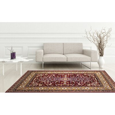 Anora Kerman Wool Red Area Rug Rug Size: 5 x 7