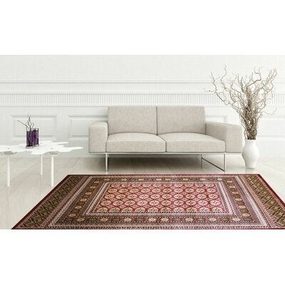Dewayne Eclectic Burgundy Area Rug Rug Size: Rectangle 74 x 10.6