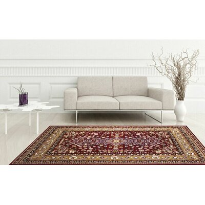 Zent Burgundy Area Rug Rug Size: Rectangle 37 x 5