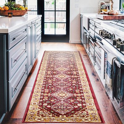 Anora Kerman Wool Red Area Rug Rug Size: Runner 3 x 10